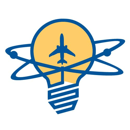 an idea demonstrated by airplane and bulb