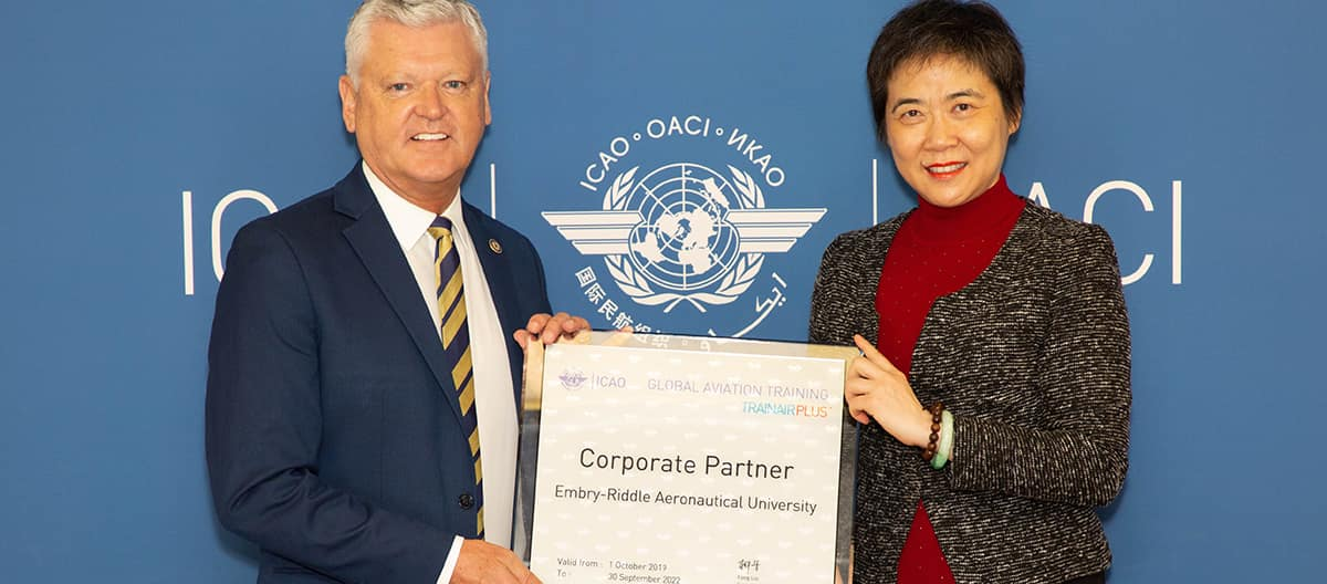 John R. Watret, Ph.D., Chancellor of the Embry-Riddle Worldwide Campus and ICAO Secretary General Fang Liu